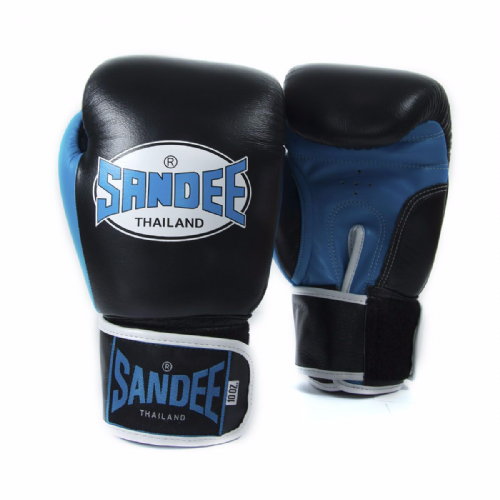 Sandee Neon Velcro Boxing Gloves - Blue